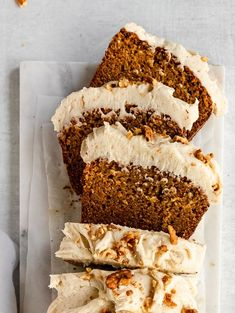 olives+thyme – chai spiced carrot loaf cake with brown butter cream cheese - Cupcakes Köstliche Desserts, Dessert Recipes, Cupcake Recipes, Drink Recipes, Delicious Fruit, Yummy Food, Food Cakes, Cupcake Cakes, Carrot Loaf