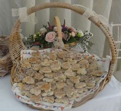 Gorgeous basket of heart shaped welsh cakes