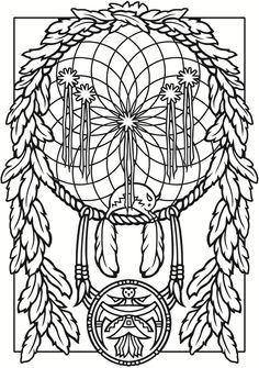 Dream Catcher Coloring Page From Dover Publications