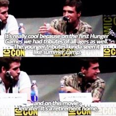 The Hunger Games: Catching Fire Comic Con Hunger Games Cast, Hunger Games Fandom, Hunger Games Catching Fire, Hunger Games Trilogy, Josh Hutcherson, Jennifer Lawrence, I Volunteer As Tribute, Mocking Jay, Katniss Everdeen