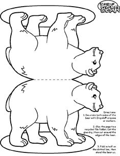 1. Use Crayola® crayons, colored pencils, or markers to decorate each side of the bear.  2. Glue the page to a thin piece of cardboard, such as a recycled cereal box or a file folder.   3. Let the glue dry, and then cut around the edges of the bear.  3. Fold the page in half along the dotted line, and then stand the bear up.