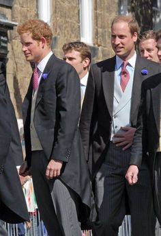 Prince Harry and Prince William attend the wedding of their close friend, Thomas-van-Straubenzee, 6/22/13.