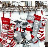 Fun Personalized Knitted Christmas Stockings - Kids Santa  Moose Striped Snowman Snowflakes - Scandinavian Intarsia Nordic Look