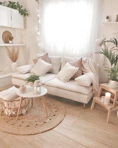 Clean boho living room with white and rattan accents. Boho Room, Boho Living Room, Living Room Decor, Barn Living, Bohemian House, Bohemian Design, Bohemian Living, Living Rooms, Living Room Inspiration