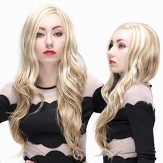 long blond big curve curly wigs for women side parting for sale Short Human Hair Wigs, Long Wigs, Curly Wigs, Wigs With Bangs, Hairstyles With Bangs, Cheap Lace Front Wigs, Cheap Wigs, How To Wear A Wig, Long Blond