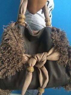 6b8f7d29292 Authentic Kontessa Furry Italian Designer Large Chocolate Brown Tote Bag  Purse  Kontessa  TotesShoppers
