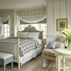 swedish bedroom ~ like the window treatment Swedish Bedroom, Swedish Decor, Dream Bedroom, Home Bedroom, Bedroom Decor, Serene Bedroom, Bedroom Inspo, Coastal Bedrooms, Shabby Chic Bedrooms