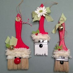 santas paintbrush ornaments. | ... paintbrush Santa ornaments. These are really easy and look cute on the