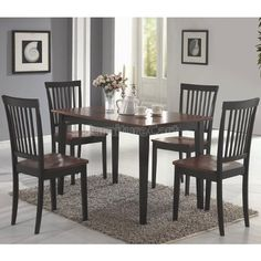 Dining set by Coaster 5pc complete set by Coaster Furniture by Coaster Home Furnishings. $323.86. Slat Back Chairs. Two Tone Finish. 5 Piece Set. Includes Tableand Four Chairs. Some Simple Assembly Required. This 5PCS Dining Set in Dirty Oak/Black is a great addition to any home. Set furniture features an appealing design of clean lines and subtle curves that will bring elegant style to any room or any dining experience,finished in Dirty Oak/Black .
