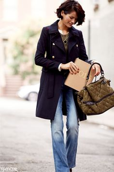 Fall outfit idea: A navy overcoat + light-wash flared denim + olive accents. At TJ MAXX WHAT A DISCOUNT!