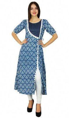 Women Dresses indian - Bimba Designer Angrakha Style Cotton Kurta Long A-Line Kurti Dress Indian Women Salwar Pattern, Kurta Patterns, Angrakha Style, Kurta Style, Churidar Designs, Kurta Designs Women, Dress Neck Designs, Blouse Designs, Kurtha Designs