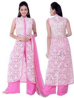 Fabulous white color resham embroidered net #Kameez paired with pink color #Palazzo pant. item Code: SLEDK501006 http://www.bharatplaza.com/new-arrivals/salwar-kameez.html