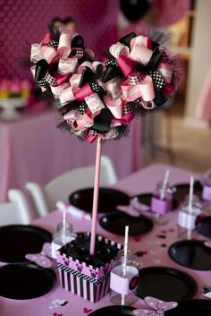 Cute MM Shaped Head made out of Ribbons, Lace & Feathers (a small centerpiece) Minnie Mouse Birthday Party Ideas | Catch My Party
