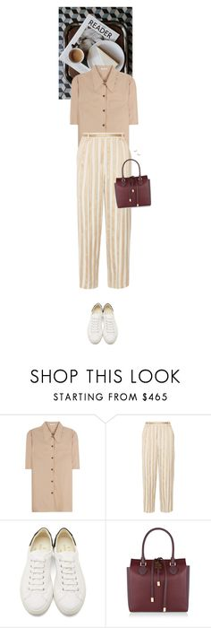 """""""Outfit of the Day"""" by wizmurphy ❤ liked on Polyvore featuring Miu Miu, The Row, 6397, Michael Kors, Gorjana, stripes and ootd"""