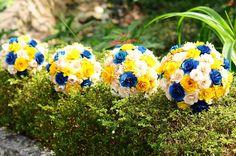 Royal Blue  and Yellow Wooden Bouquet for Wedding by etcPAPERetc, $70.00  Jen Antoniou Jen Antoniou Weddings and Events www.jenantoniouweddings.com events@jenantoniou.com 707-992-5872