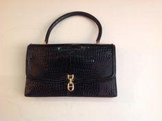 Vintage Black Hermes Alligator Bag