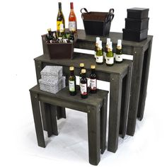 "Classic Nesting Retail Display Tables - Set of Three $42... Love the rustic smokey gray color  Small: 23.75"" L x 9.75"" W x 23.75"" H   Medium: 31.5"" L x 12.65"" W x 31"" H  Large: 39.25"" L x 15.75"" W x 36.25"" H Merchandising Displays, Store Displays, Retail Displays, Retail Boutique, Luxe Boutique, Candy Display, Display Ideas, Retail Display Shelves, Salon Shop"