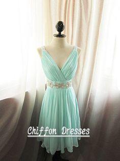 Short Blue Bridesmaid Dress V neck knee length bridesmaid dress short prom dresses chiffon bridesmaid dress light blue dress on Etsy, $78.00