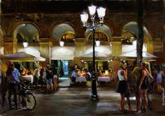"""""""SUMMER EVENING IN BARCELONA"""", 92x62 cm, oil on canvas, artist Vladimir Volegov"""