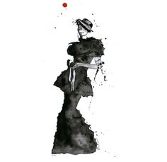 Fashion Original Painting Watercolor ink artwork fine art contemporary abstract black white  wall decor modern picture illustration. $124.00, via Etsy.