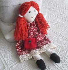 Rag Doll cloth doll handmade fabric doll with wool hair. dress up.