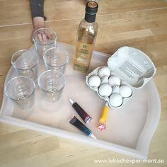 Experiment för barn trolla bort äggskal med vinäger
