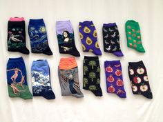 """Cute socks with very famous artworks(from the left): Henri Rousseau's """"The Dream"""", Van Gogh's """"The Starry Sky"""", Henri Matisse's """"The Dance"""", Katsushika Hokusai's """"The Great Wave of Kanagawa"""", and Edvard Munch """"The Scream"""". Plus bonus patterns with avocados, ducks, burgers and fries, artichokes, pomegranates, and apples"""