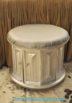 DIY Vintage End Table Turned Storage Ottoman DIY home furniture. sure wish I had my gran parents end tables, such a great idea. Diy Home Furniture, Repurposed Furniture, Furniture Projects, Furniture Makeover, Painted Furniture, Diy Home Decor, Refurbishing Furniture, Silver Furniture, Diy Projects