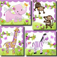 Set of 4 Pretty Purple Girly Jungle Animals Girls Bedroom Baby Nursery 8 x 10 Wall ART PRINTS. $20.00, via Etsy.