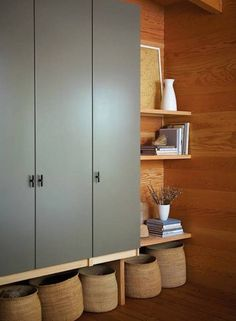 :: Havens South Designs :: loves a good Ikea hack. Here a wall-mounted IKEA Pax Wardrobe in an entry. Ikea Pax Wardrobe, Ikea Closet, Closet Bedroom, Bedroom Storage, Pax Closet, Dombas Wardrobe, Wall Storage, Diy Bedroom, Wardrobe Closet