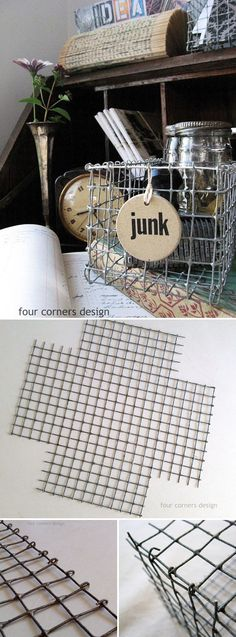 "TUTORIAL :: DIY WIRE BASKETS :: SO easy! Just hadware cloth (""comes in rolls, either 1/2"" or 1/4"" openings, very sturdy & rigid w/ a patina as it's usually zinc coated. chickenwire & pliers. and I don't know why it's called hardware CLOTH!"") #fourcornersdesign #wirebaskets #hardwarecloth"
