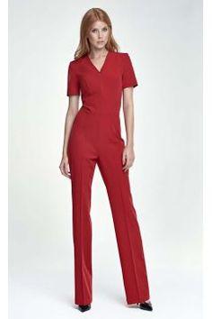 Red Elegant Short Sleeves Jumpsuit #modasto #giyim #moda https://modasto.com/coco-fashion/kadin/br37250ct2