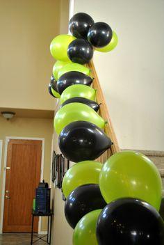 """Hulk Smash Birthday"" Black and green balloons"