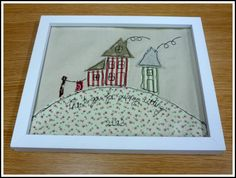 A great 'thanks for puppy-sitting' present. The embroidered writing is really impressive, and the smoke coming out of those chimneys gives the picture a great jauntiness. Machine embroidered art is so expressive.  See our Craft, Family, Food and Activity Breaks here: http://www.bedruthan.com/breaks — at Bedruthan Steps Hotel and Spa.