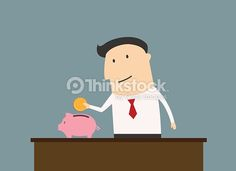 Vektorgrafik : Businessman saving money in piggy bank