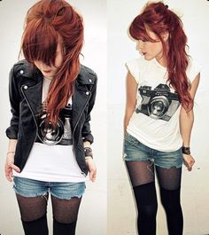 Could imagine myself in this... jeanshorts, print shirt, leather jacket and overknee-look tights - love it!