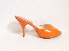 Vintage 1950s Patent Leather Springolator Mules Heels by hipsmcgee, $55.00