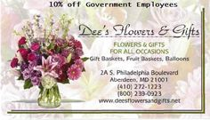 Government Employees and Defense Contractors all receive a discount with Gov-Savings.com from Dee's Flowers & Gifts shop.   Proper ID required