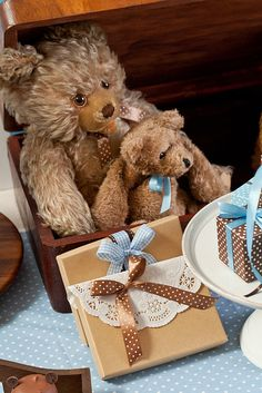 """Photo 1 of 24: Blue and brown teddy bears / Baby Shower/Sip & See """"Teddy Bear baby shower"""" 