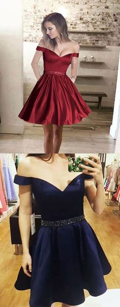 Crystal Belt Off the Shoulder Whine Red Prom Dresses Short,Navy Blue Satin Homecoming Dresses,Cheap Short Party Dresses