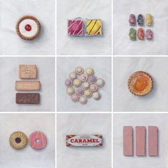 """Joel Penkman- Sweet Collection """"A collection of 9 small paintings for those with a sweet tooth. Joel Penkman, Iced Gems, Gcse Art Sketchbook, Sketching, Jelly Babies, Food Painting, Art Themes, Small Paintings, Food Illustrations"""