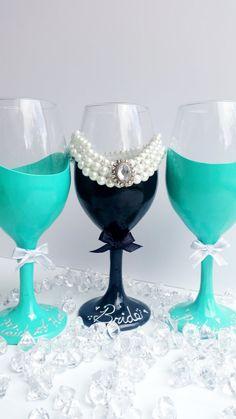 Breakfast at Tiffany's Bridal Shower wine by KellyArceDesign