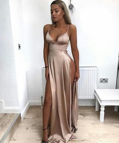 Evening Dress ,Thigh High Slits Sexy Evening Dress 2017 Elastic Satin Concise Long Party Gowns Spaghetti Straps Deep V neck Hot Evening Dresses #eveningdresses