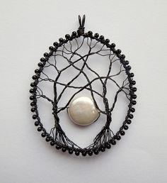 wirework Moonrise Between the Trees Pendant