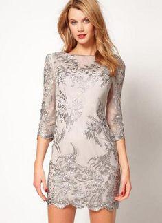 Starry Embroidery Slim Dress