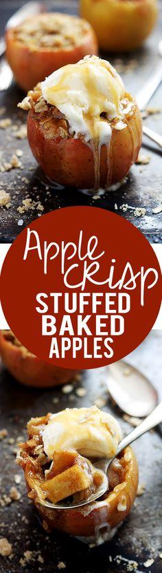 Apple Crisp Stuffed Baked Apples | Creme de la Crumb