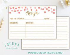 Printable Bridal Shower Recipe Card Printable by LaBohemmePaperCo