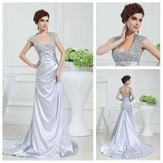 Silver Elastic Satin Cap Sleeve Backless Mother Of The Bride Evening Gowns With Sleeves $99.99