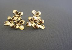 Gold Cherry blossom Studs Earrings w 925 Sterling Silver Post.