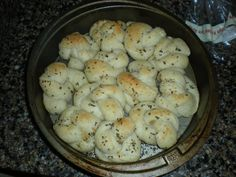 1/7/12 - Garlic Knots - Recipe from Pillsbury.  These were definitely easy to make.  Could have used a little more garlic and seasoning but I also dumped a good portion of it because I didn't think I needed it.  USE ALL OF THE BUTTER/HERB MIXTURE!!!  They were pretty good otherwise.  I also didn't salt and pepper them.  Figured they didn't need it but we sprinkled on some garlic salt afterwards when we realized we should have used all the garlic mixture.  Will definitely try again! UPDATE…